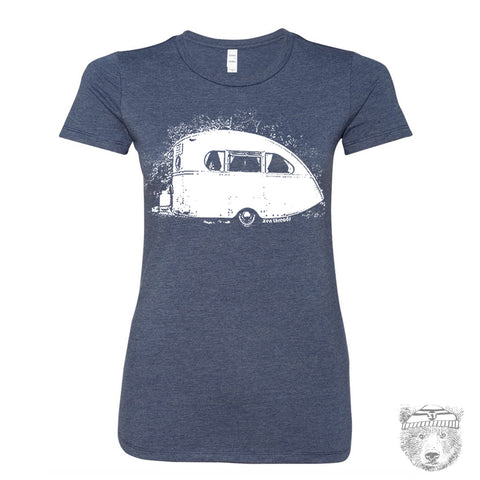 Women's VINTAGE CAMPER  T-shirt -hand screen printed S M L XL XXL (+ Colors Available)