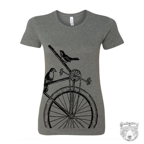 Women's SPARROW Bike T Shirt -hand screen printed s m l xl xxl (+ Colors Available)