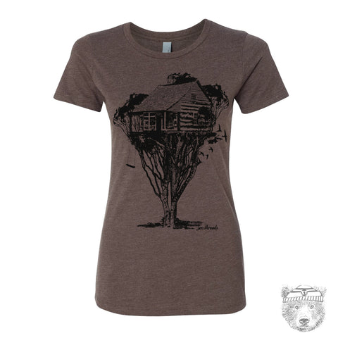 Women's TREEHOUSE Cabin T-shirt -hand screen printed s m l xl xxl (+ Colors Available)