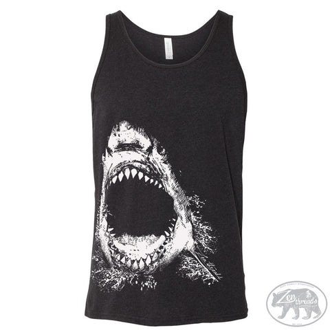 Unisex Tank Top SHARK Tri Blend -hand screen printed xs s m l xl xxl (+ Colors)