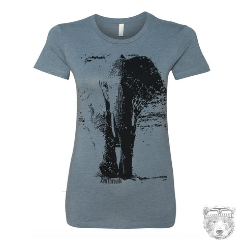 Women's ELEPHANT T-shirt -hand screen printed  S M L XL XXL (+ Colors Available)