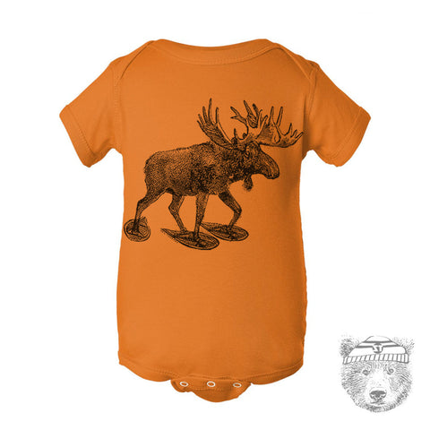 Baby One-Piece MOOSE (in Snow Shoes) Eco screen printed - Zen Threads