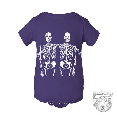 Baby One-Piece SKELETON Friends  Eco screen printed - Zen Threads