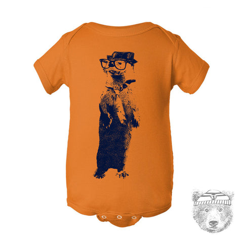 Baby One-Piece OTTER (in a Fedora) Eco screen printed - Zen Threads