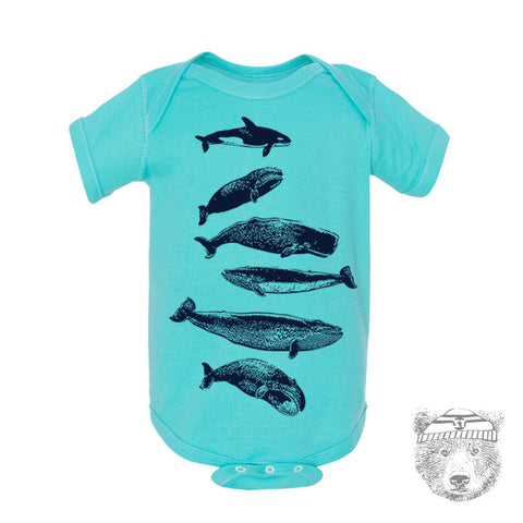 Baby One-Piece WHALES Eco screen printed - Zen Threads