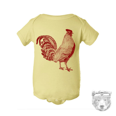 Baby One-Piece ROOSTER  Eco screen printed