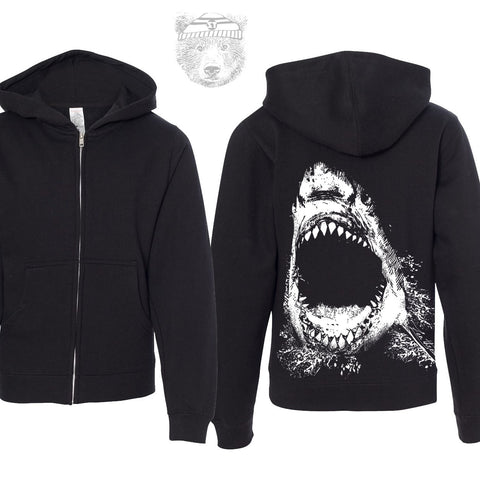 Kids SHARK Midweight Zip Hoodie Sweatshirt youth sizes - Zen Threads