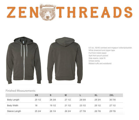 Unisex HOPS Fleece Zip Hoody (+ Color Options) xs s m l xl xxl Hand Screen Printed - Zen Threads