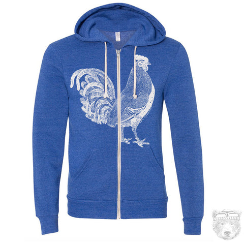 Unisex Urban ROOSTER Tri-Blend Fleece Hoody (+Colors) S M L XL Hand Screen Printed