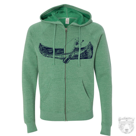 Unisex MANATEE (in a Canoe) Fleece Triblend Zip Hoody S M L XL (+ Colors) - Zen Threads