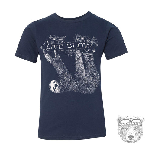 Kids SLOTH (Live Slow) Premium vintage soft Tee T-Shirt Fine Jersey T-Shirt - Zen Threads