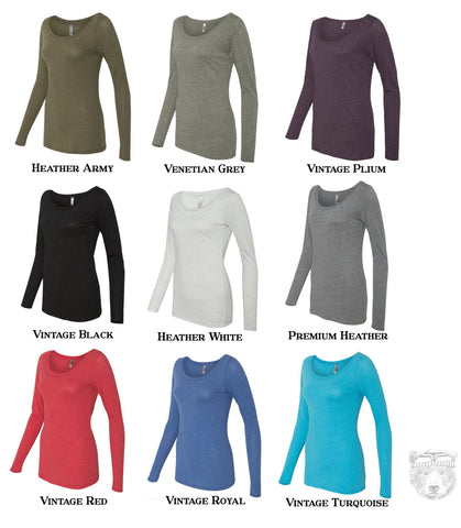 Women's HOPS Long Sleeve Scoop Neck -  Tri Blend t shirt [+Colors] S M L XL XXL