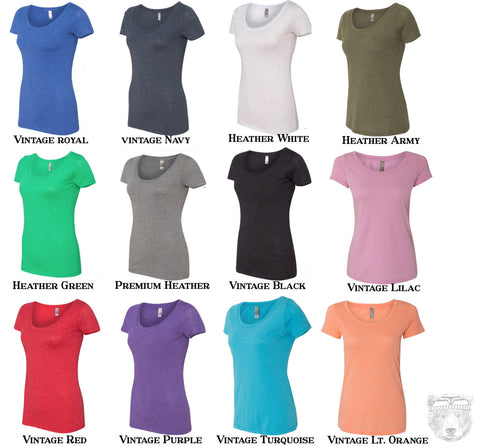 Women's MOOSE (in Snow Shoes) TriBlend Scoop Neck Tee - T Shirt S M L XL XXL (+Colors)