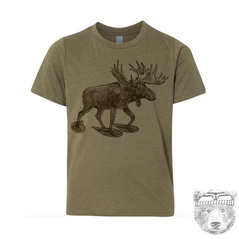 Kids MOOSE (in Snow Shoes) Premium vintage soft Tee T-Shirt Fine Jersey T-Shirt - Zen Threads