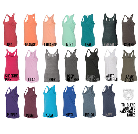 Women's SHARK -hand screen printed Tri-Blend Racerback Tank Top xs s m l xl xxl  (+Colors)