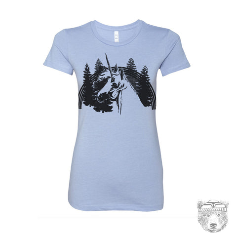 Women's UNICORN T-shirt -hand screen printed tee S M L XL XXL (+ Color Options)