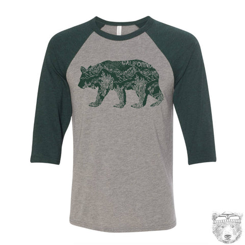 Unisex California BEAR Three-Quarter Sleeve Baseball T-Shirt s m l xl xxl (+ Color Options) custom - Zen Threads