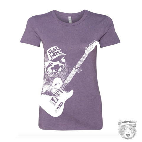 Womens SLOTH 3 (Slow Jams)  t-shirt -hand screen printed  (+ Colors Available) custom custom