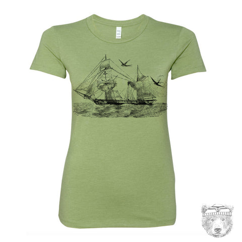 Women's Vintage STEAMSHIP Illustration T-shirt s m l xl xxl -hand screen printed (+ Colors Available)