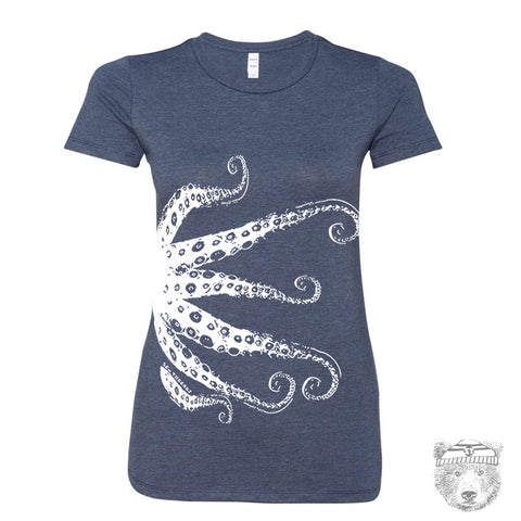 Womens OCTOPUS Tentacles -hand screen printed t shirt s m l xl xxl (+ Colors Available)