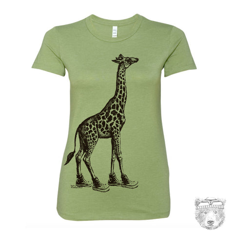 Women's GIRAFFE (in High Tops) -hand screen printed T Shirt s m l xl xxl (+ Colors Available)