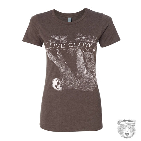Women's SLOTH 2 (Live Slow)  t-shirt -hand screen printed s m l xl xxl (+ Colors Available)