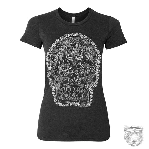 Women's DAY Of The DEAD 2 T-shirt - hand screen printed S M L XL XXL (+ Colors Available)
