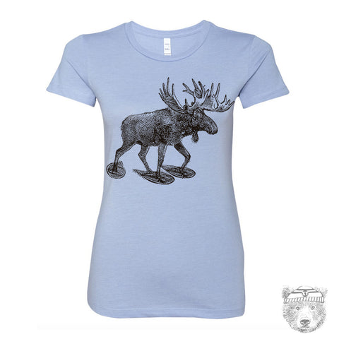 Women's MOOSE (in Snow Shoes) hand screen printed T Shirt s m l xl xxl (+ Colors Available)