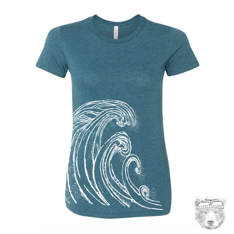 Women's WAVE T-shirt -hand screen printed + Colors