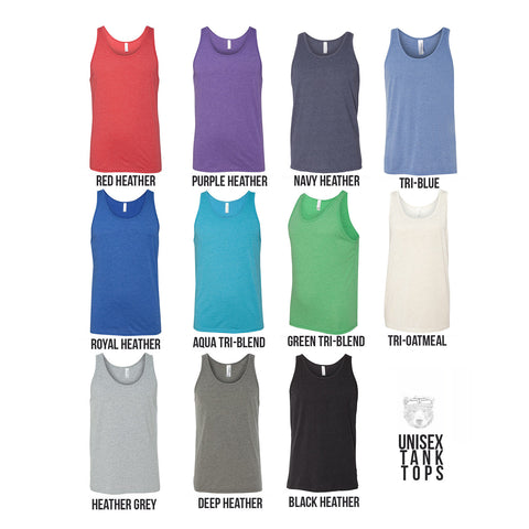Unisex CAMPER Trailer Tank Top Tri Blend -hand screen printed xs s m l xl xxl (+ Colors)