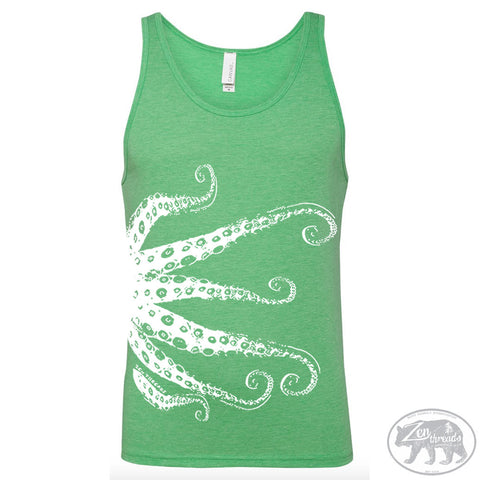 Unisex Tank Top OCTOPUS Tentacles Tri Blend -hand screen printed xs s m l xl xxl (+ Colors)