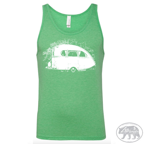 Unisex CAMPER Trailer Tank Top Tri Blend -hand screen printed xs s m l xl xxl (+ Colors) - Zen Threads