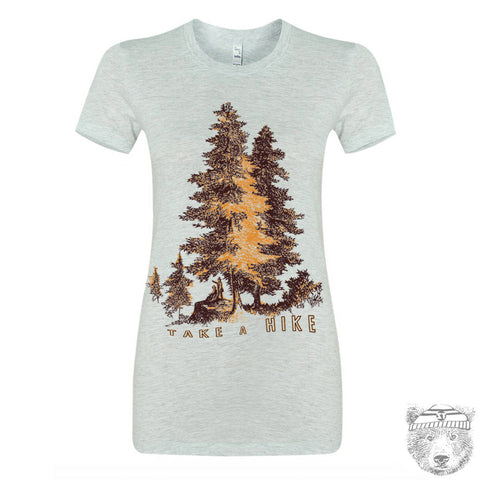 Womens Take a HIKE T Shirt -hand screen printed s m l xl xxl (+ Colors Available) Zen Threads custom