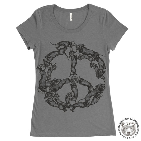 Womens Peace WIENERS Dachshunds -  Lightweight Tri Blend t shirt [+Colors] S M L XL XXL custom