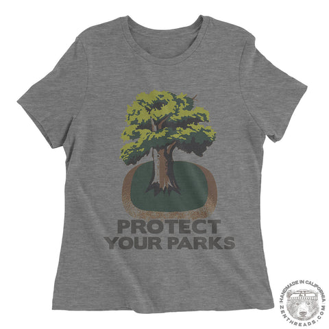 Womens Boyfriend Tee PROTECT YOUR PARKS relaxed jersey T-shirt - s m l xl xxl - Hand Screen Printed - Zen Threads + Bella Canvas 6400 custom