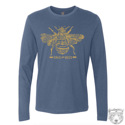 Mens Long Sleeve SAVE The BEES T Shirt s m l xl xxl (+ Color Options) custom - Zen Threads