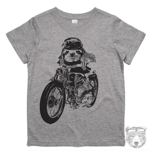 Kids Motorcycle SLOTH Premium vintage soft Tee T-Shirt Fine Jersey T-Shirt - Zen Threads