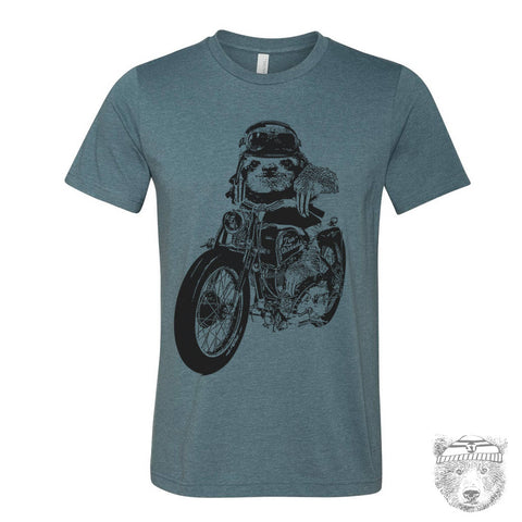 Mens Motorcycle SLOTH T Shirt  s m l xl xxl (+ Color Options) custom - Zen Threads