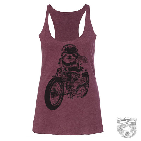 Women's MOTORCYCLE Sloth -hand screen printed Tri-Blend Racerback Tank Top xs s m l xl xxl  (+Colors)