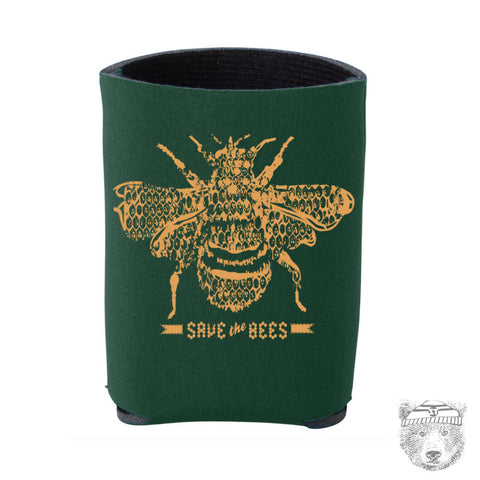 SAVE The BEES- Hand Screen Printed Can Cooler - Zen Threads