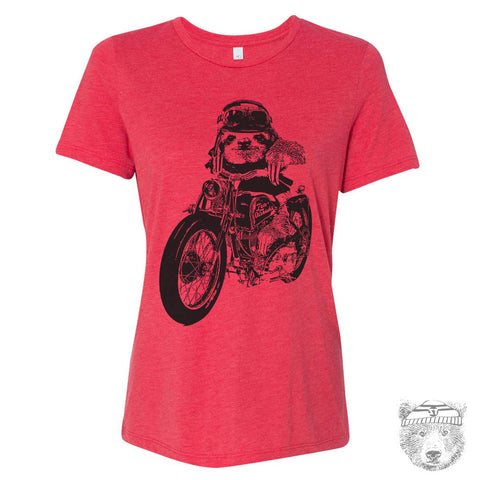 Women's MOTORCYCLE Sloth Relaxed Boyfriend Tee t shirt [+Colors] S M L XL XXL