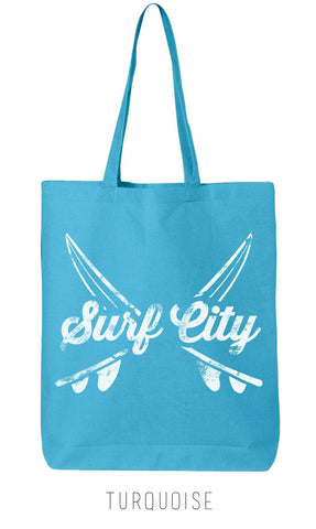 Vintage SURF BOARDS California Eco-Friendly Market Tote Bag - Hand Screen printed (Ships FREE!)