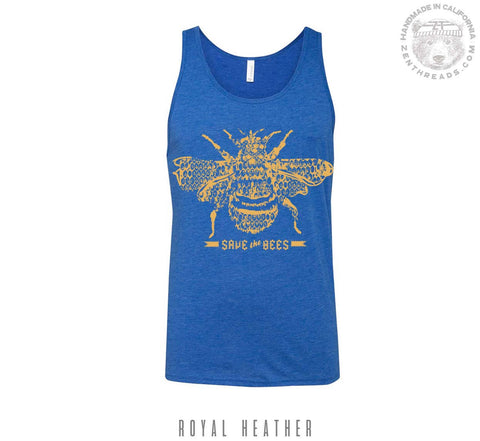 Unisex SAVE the BEES Tri Blend Tank -hand screen printed xs s m l xl xxl (+ Color Options) workout - Zen Threads