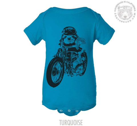 Baby One-Piece SLOTH MOTO motorcycle bike  Eco screen printed (+ Color Options) - FREE Shipping - Zen Threads
