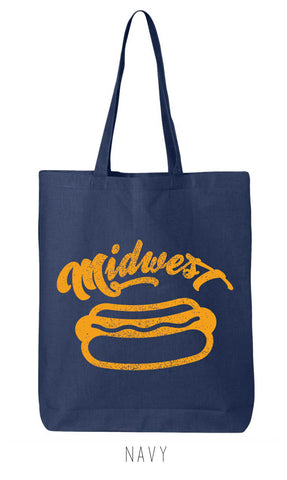 Midwest HOT DOG Eco-Friendly Market Tote Bag - Hand Screen printed (Ships FREE!) - Zen Threads