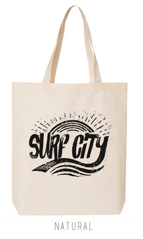 SURF CITY California Eco-Friendly Market Tote Bag - Hand Screen printed (Ships FREE!) - Zen Threads