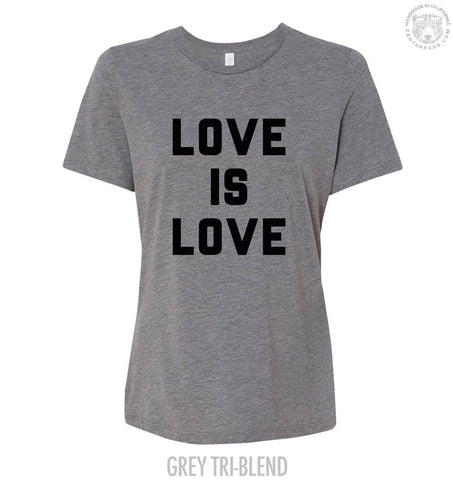 Womens Boyfriend Tee LOVE is LOVE relaxed jersey T-shirt - s m l xl xxl - Hand Screen Printed Zen Threads + Bella Canvas 6400 custom