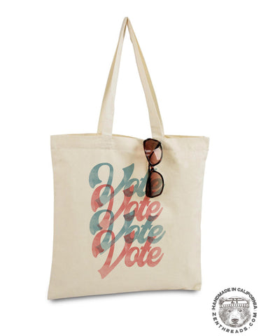 VOTE TOTE - Hand Screen Printed Bag - made in California - throw shade and vote!