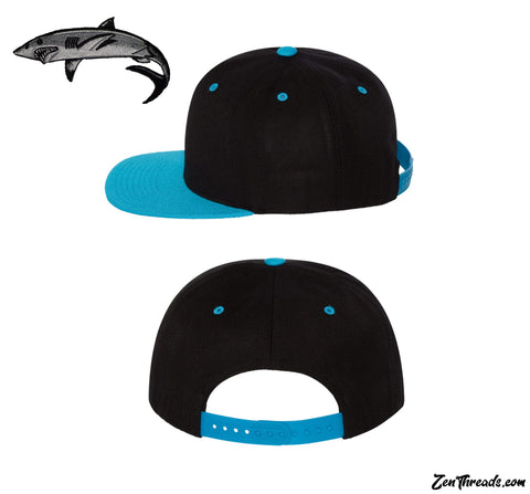 SHARK Embroidered California Patch Wool Blend Flat Bill Snapback Cap - 6089MHat
