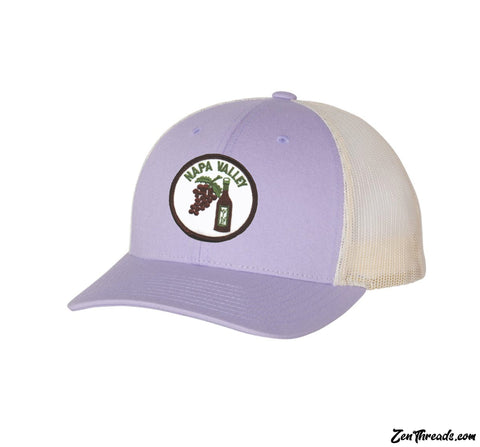 Wine NAPA VALLEY Embroidered Patch Low Profile Trucker Cap Lavender 115Hat